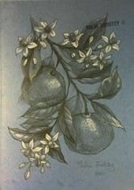 Orange flowers and fruits. Pencil and white pastel original drawing A4 f... - $56.33