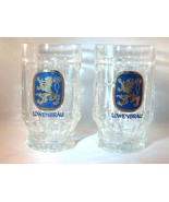LOWENBRAU GOLD CREST LION GLASS MUGS - SET OF TWO (2) - EXCELLENT ITEMS!! - $17.98