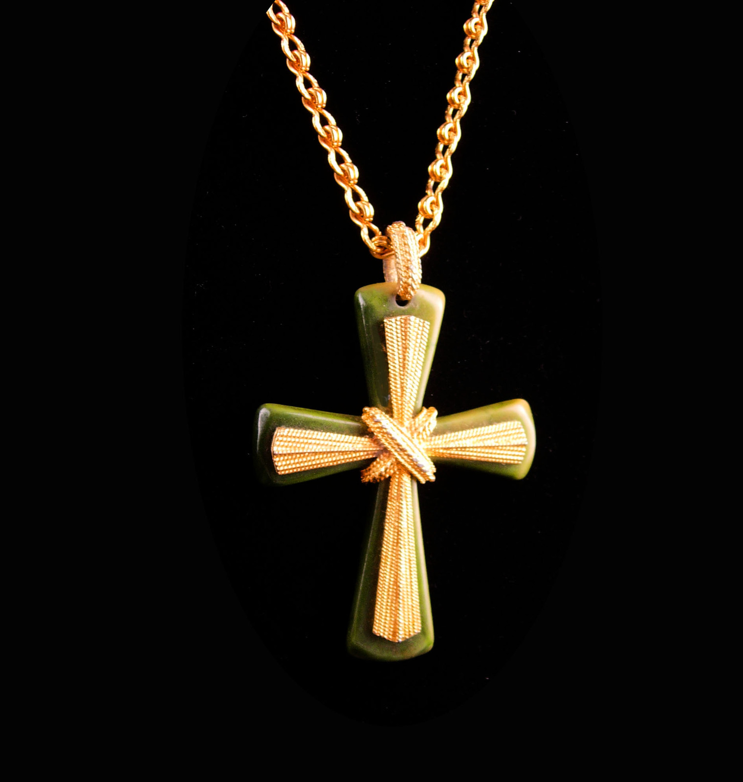 Primary image for Gorgeous BIG gothic Cross necklace - vintage celtic green - religious gift - iri