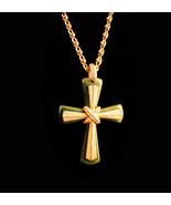 Gorgeous BIG gothic Cross necklace - vintage celtic green - religious gi... - $95.00