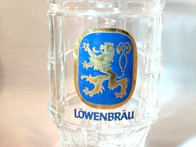 LOWENBRAU GOLD CREST LION GLASS MUGS - SET OF TWO (2) - EXCELLENT ITEMS!!