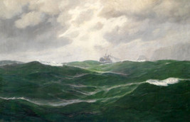 Stunning Oil painting seascape green ocean waves with sailing ship canvas - $29.69
