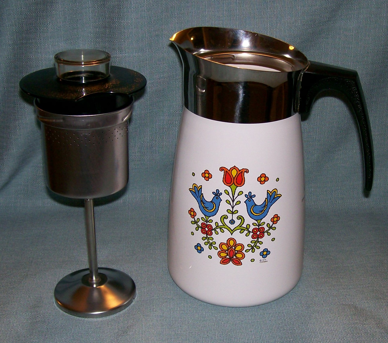 Vtg Corning COUNTRY FESTIVAL Friendship Stove Top 10 Cup Percolator P149 Birds