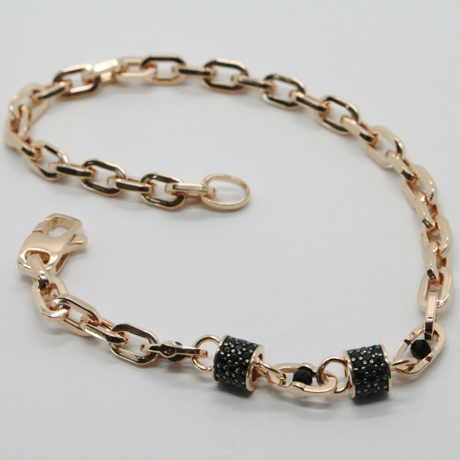 SOLID 18K ROSE GOLD BRACELET SQUARE TUBE OVAL LINK, BLACK ZIRCONIA, ITALY MADE
