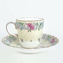 Vintage Minton England Printemps Demitasse Porcelain Flat Tea Cup Saucer Set - $27.89