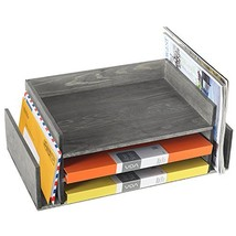 Weathered Gray Wood 3-Tier Office Desktop Document Tray & Mail Sorter Or... - $57.28