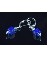 Sterling Silver Earrings_Lapis Lazuli and Aquamarine Crystals - $35.00