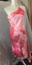 EXPRESS asymmetrical  silk dress peach orange stripe womens size7/8 - $14.00