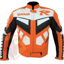 YAMAHA R ORANGE MOTORCYCLE MOTORBIKE BIKERS ARMOURED COWHIDE LEATHER JACKET - $194.99