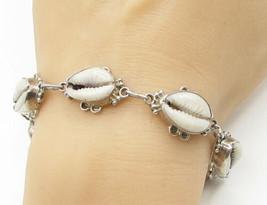 925 Sterling Silver - Vintage Puka Shell Pattern Bracelet - B1355 - $79.43