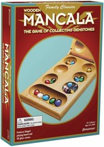 Board Game Mancala - Real Wood Folding Set with Multicolor Stones Strategy STEM - $16.74