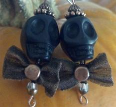 Skull Howlite Earrings Black with Copper Cap & Bow Tie On Sterling Silve... - $29.99