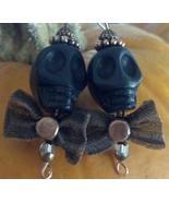 Skull Howlite Earrings Black with Copper Cap & ... - $29.99
