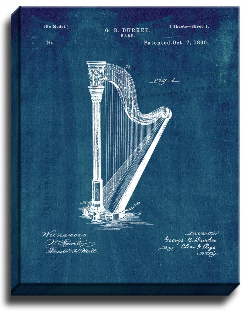 Primary image for Harp Patent Print Midnight Blue on Canvas