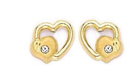 14k Real Gold Heart CZ Stud Screw Back Earrings for Children Adults 42-31 - $27.43
