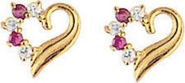 14k Gold Heart Cz Stud Screw Back Earrings Special Sale! - $33.87
