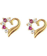 14k Real Gold Heart CZ Stud ScrewBack Earrings ... - $33.87