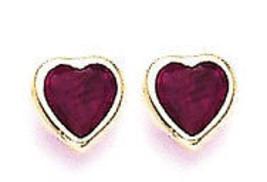 14k Real Gold Heart CZ Stud Screw Back Earrings for Children&Adults K40-... - $19.59