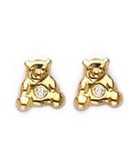 14k REAL Gold TeddyBear White CZ ScrewBack Earring Children/Adults ON SALE - $32.78