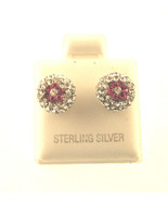 BEAUTIFULL SPARKLEING SILVER BALL ERRINGS WITH WHITE CZ STONES & FLOWER - $21.06