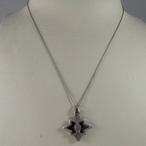 .925 SILVER RHODIUM NECKLACE WITH GLOSSY AND SATIN PENDANT. image 1