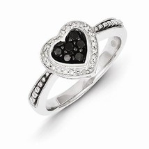 STERLING SILVER BLACK AND WHITE DIAMOND HEART  RING - SIZE 6 - £266.12 GBP