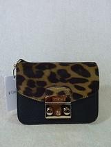 NWT FURLA Black Leather/Leopard Print Fur Mini Metropolis Cross Body Bag - $443.50