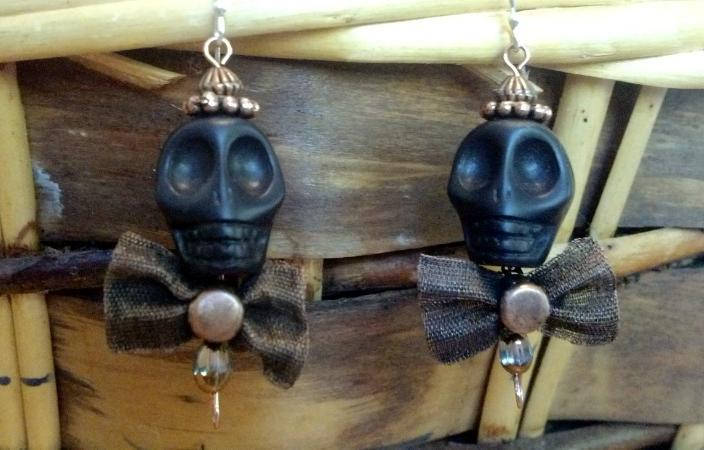 Primary image for Skull Black Howlite Earrings with Copper Cap & Bow Tie On Sterling Silver Wires