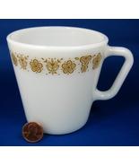 Retro Pyrex Butterfly Gold Mug Milk Glass Gold Flowers Butterflies - $6.00