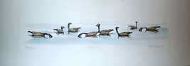 """Frank Gee """" Geese """" in Lake etching Ltd Ed #56/350 Damaged. Sold AS IS - $9.95"""