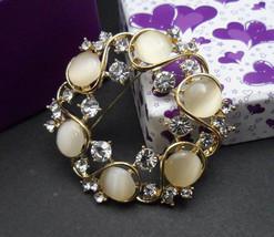 Cat Eye Stone Brooch, Rhinestone Brooch, Wedding Brooch Pin, Wedding Acc... - $8.95