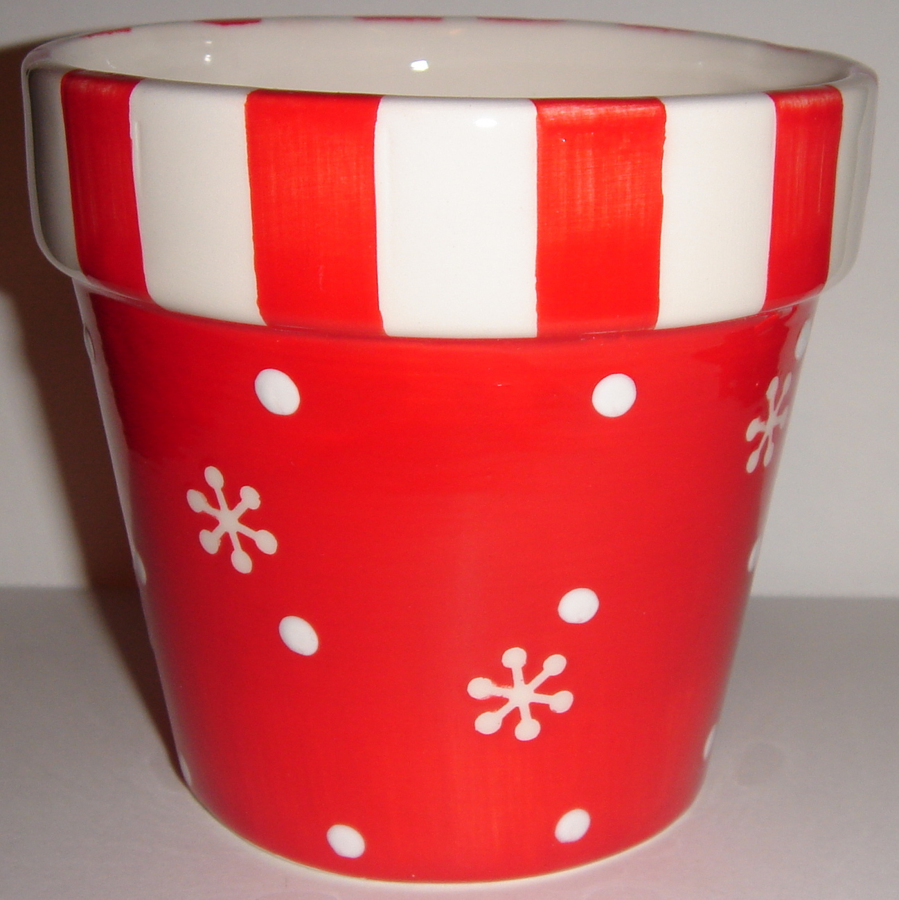 Red & White Ceramic Pot Shaped like a Planter