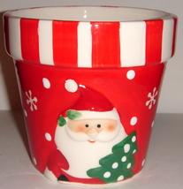 Red & White Ceramic Pot Shaped like a Planter - $8.00