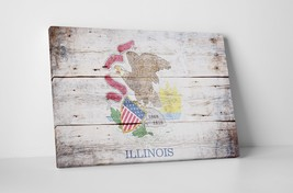 Vintage Illinois State Flag Gallery Wrapped Canvas Wall Art - $44.50+