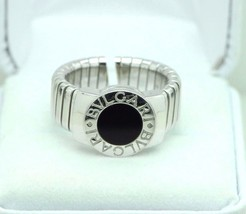 Bvlgari 18K White Gold 9mm Tubogas Ring with Onyx (Size 7 1/4+) - $1,250.00