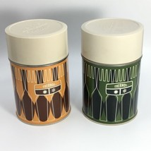 2 Vintage 1971 10 Oz King Seeley Thermos Co Green & Gold Diamond Pattern 73A63 - $20.10