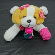 Barbie Glam Girl Puppy Dog Plush White Light Up Nose with Bottle WORKING - $17.81