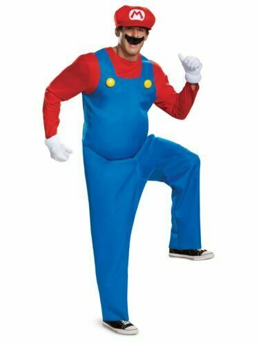 Primary image for NEW Super Mario Halloween Costume Men's XL 40-42 Jumpsuit Hat Gloves Mustache