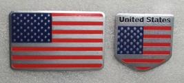 """2 USA Flag Aluminum Sticker 3D Patriotic 3 1/8"""" x 1 7/8"""" and 2"""" x 2"""" Emb... - $9.99"""