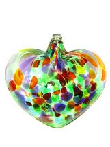 Carnival Mottled Art Glass Hanging Heart - $20.00