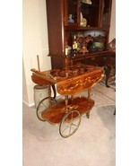 ITALIAN INTRICATE FLORAL INLAY MARQUETRY TEA CART Vintage / Antique - $321.75