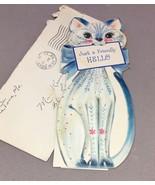VTG Mid-Century Greeting Card Slim Jims Die-Cut Kitten Bow Hallmark embo... - $28.05
