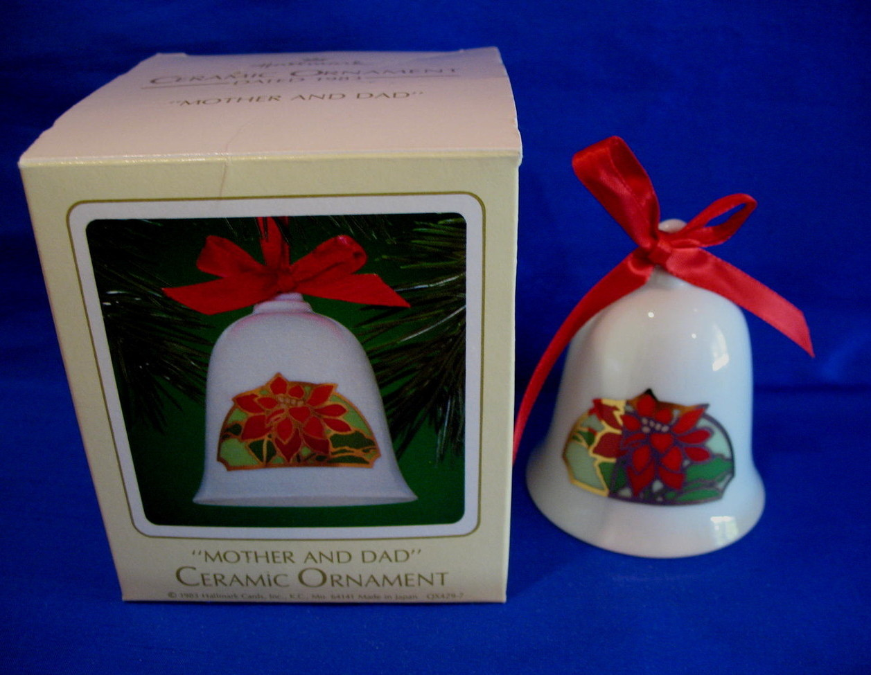 Hallmark Christmas Ornament Mother and Dad 1983 Ceramic Bell