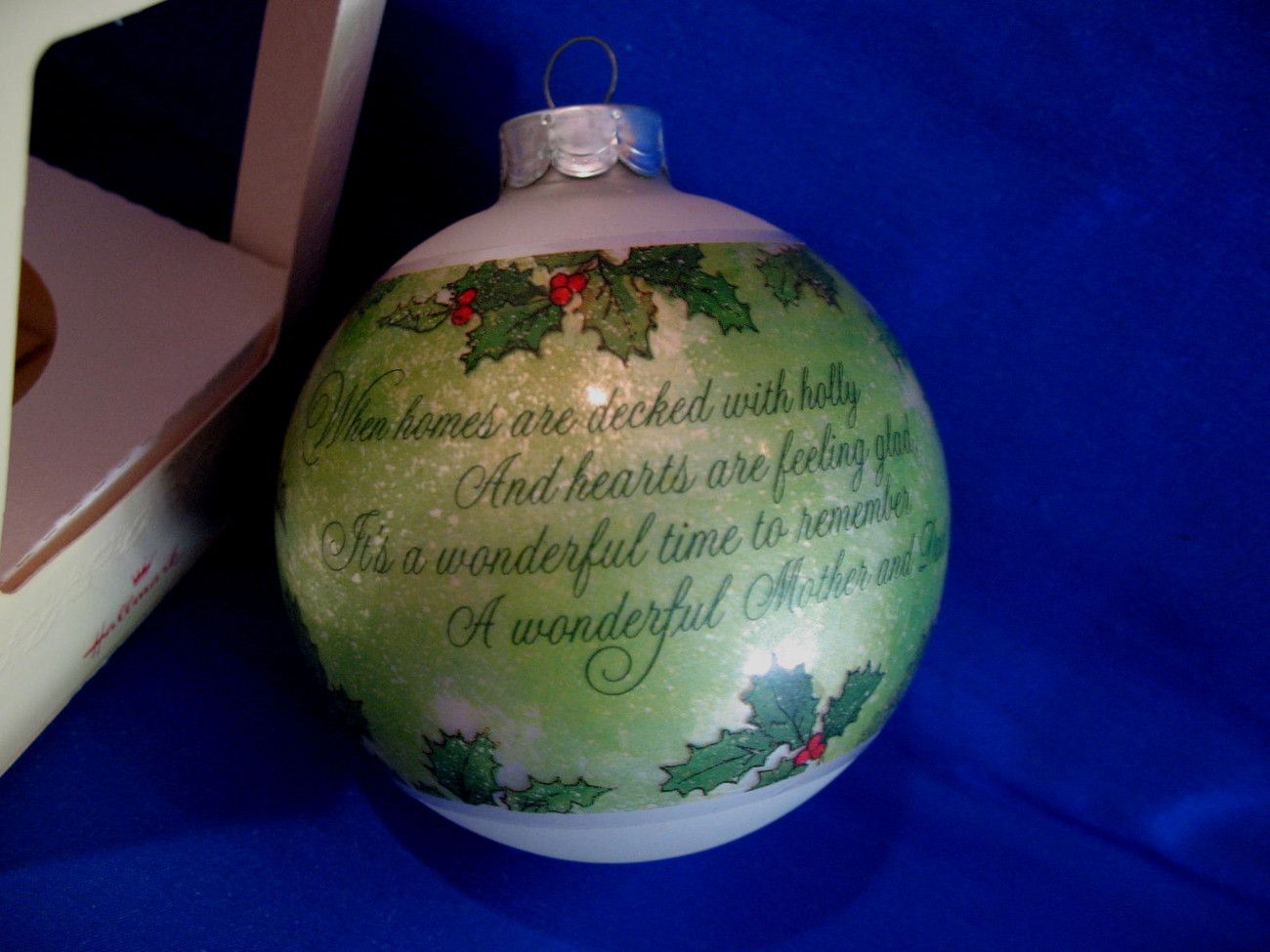 Hallmark Christmas Ornament Mother and Dad 1980 Glass