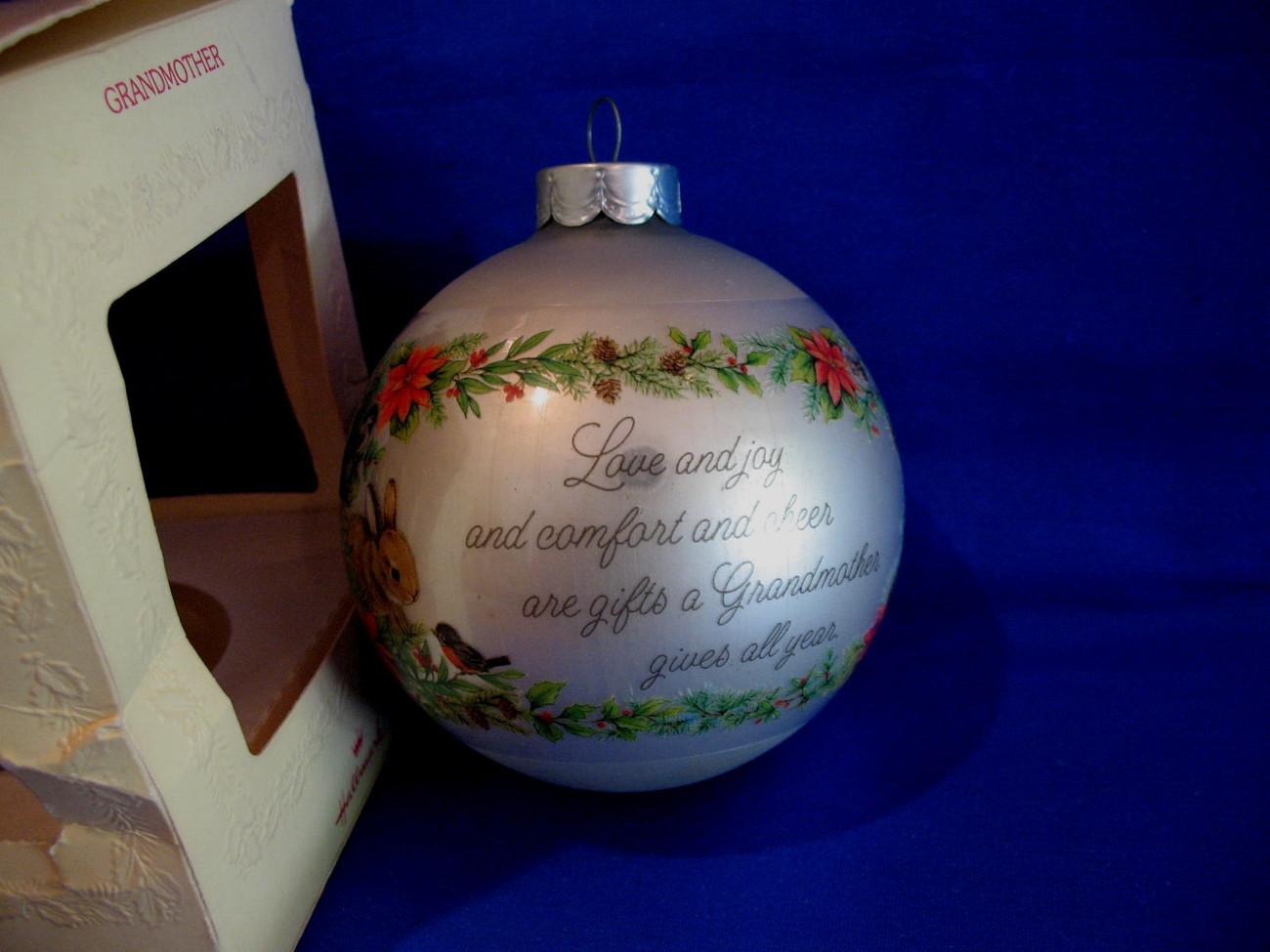 Hallmark Christmas Ornament Grandmother 1980 Glass