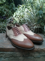 Two tone leather corespondent shoes for men handmade on custom size all leather - $179.90 - $189.90
