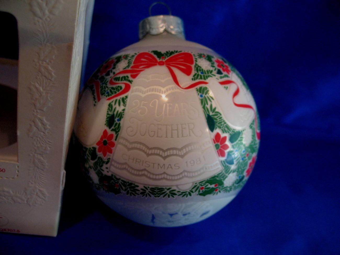 Hallmark Christmas Ornament 25 Years Together 1981 Glass