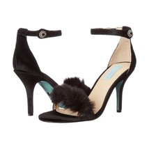 Betsey Johnson Crystal Nolte Black Velvet Faux Fur High Heel Pumps 8.5 NIB - $63.86
