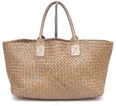 BOTTEGA VENETA Leather Tote Bag MEDIUM CABAT Gold OTTONE Metallic Intrec... - $5,866.25