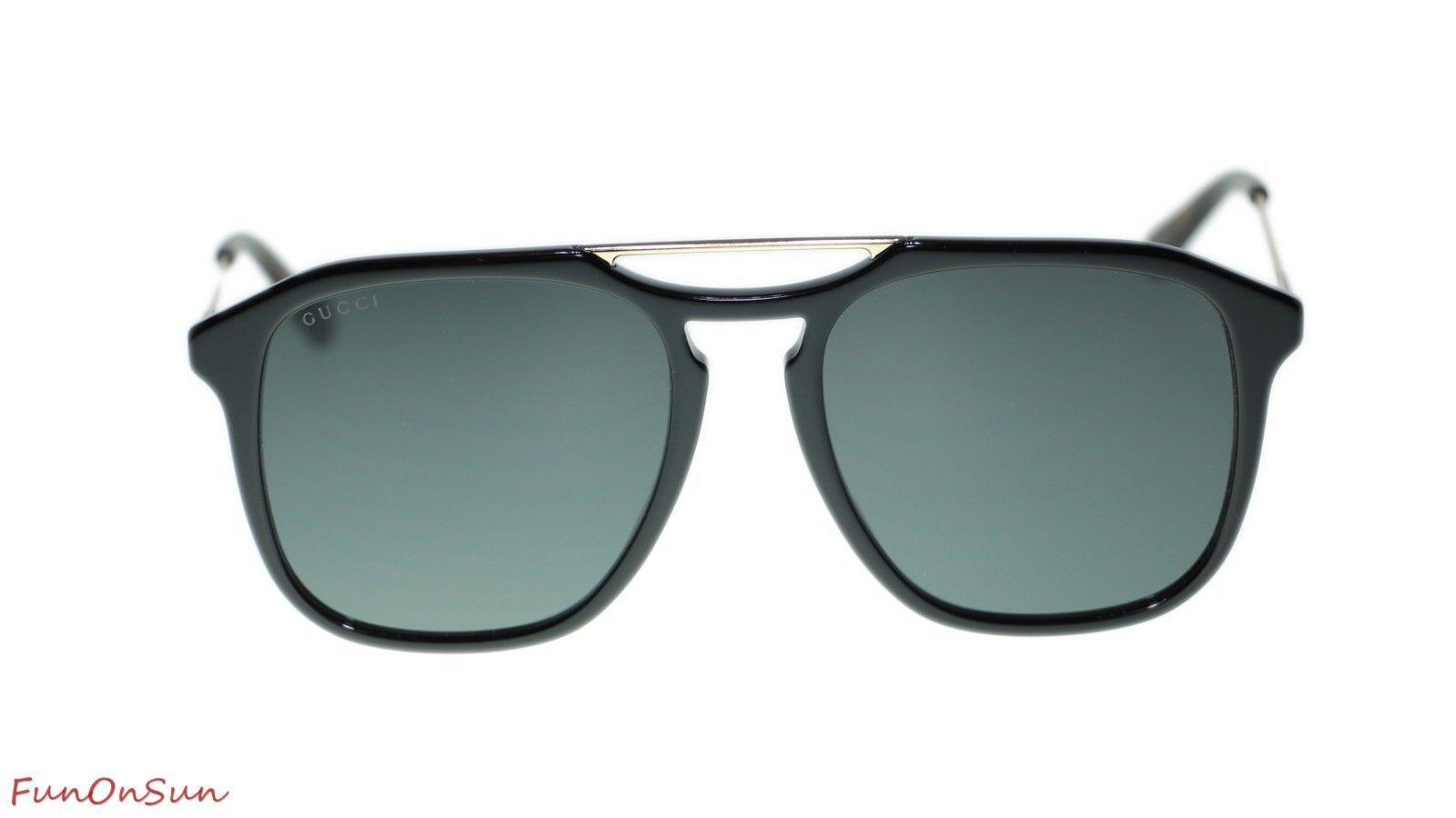 ef539df4d27e NEW Gucci Sunglasses GG0321S 001 Black Gold Grey Lens Square 55mm Authentic  - $212.43